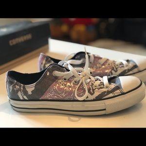 Grey and light purple converse